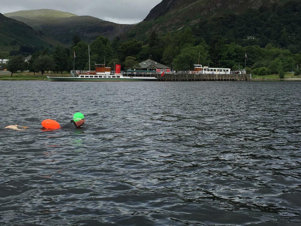 John Mather swimming Ullswater, Lake District