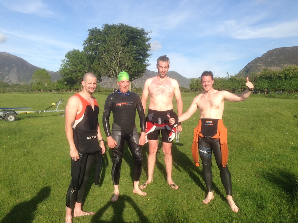 John Mather's swimming group at Loweswater, Lake District