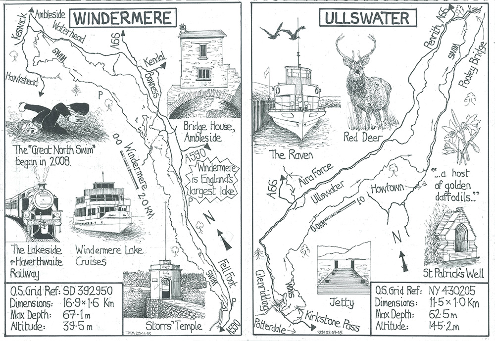 Illustrative guides to swimming Windermere and Ullswater in the Lake District